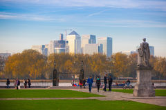 London, UK - October 31, 2015: Panorama of Canary Wharf in evening. View from the Greenwich Royalty Free Stock Image