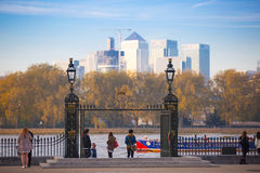 London, UK - October 31, 2015: Panorama of Canary Wharf in evening. View from the Greenwich Royalty Free Stock Photo