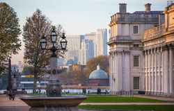 London, UK - October 31, 2015: Panorama of Canary Wharf in evening. View from the Greenwich. Side royalty free stock photo