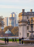 London, UK - October 31, 2015: Panorama of Canary Wharf in evening. View from the Greenwich. Side stock photography