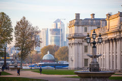 London, UK - October 31, 2015: Panorama of Canary Wharf in evening. View from the Greenwich Royalty Free Stock Images