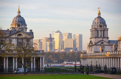 London, UK - October 31, 2015: Panorama of Canary Wharf in evening. View from the Greenwich Royalty Free Stock Photography