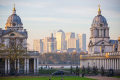 London, UK - October 31, 2015: Panorama of Canary Wharf in evening. View from the Greenwich. Side royalty free stock photography