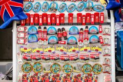 Souvenir stall with fridge magnets in London UK Stock Photography