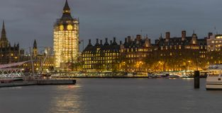 LONDON, UK - October 17th, 2017: BigBen and Thames river at night. royalty free stock photography
