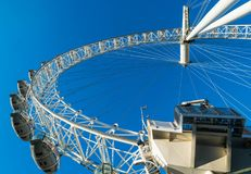 LONDON, UK - October 17th, 2017: Close up of the London Eye in London, England with tourist holding capsule in view. Stock Image