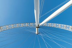 LONDON, UK - October 17th, 2017: Close up of the London Eye in London, England with a view of the rotational axis. LONDON, UK - October 17th, 2017: Close up of Stock Photos