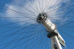 LONDON, UK - October 17th, 2017: Close up of the London Eye in London, England with a view of the rotational axis. LONDON, UK - October 17th, 2017: Close up of Royalty Free Stock Photos