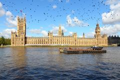 London. UK - Palace of Westminster. Black ominous birds in the sky royalty free stock images