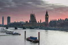 London, UK panorama. Big Ben in Westminster Palace on River Thames at sunset Stock Images
