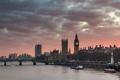 London, UK panorama. Big Ben in Westminster Palace on River Thames at sunset Royalty Free Stock Photo