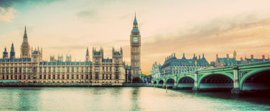 London, UK panorama. Big Ben in Westminster Palace on River Thames. Vintage Stock Photo