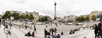 London, UK, Panorama of Trafalgar Square and Lord Nelson Statue Royalty Free Stock Photography