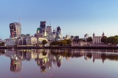 17/10/2017 London, UK, Panoramic view of London City busines buildnigs. Panoramic view of London City busines buildings from Tower Bridge Stock Photos