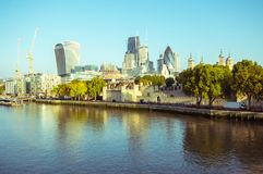 17/10/2017 London, UK, Panoramic view of London City busines buildnigs. Panoramic view of London City busines buildings from Tower Bridge Royalty Free Stock Photos
