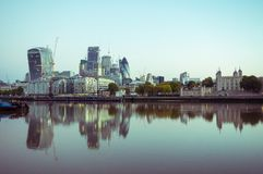 17/10/2017 London, UK, Panoramic view of London City busines buildnigs. Panoramic view of London City busines buildings from Tower Bridge Royalty Free Stock Photo