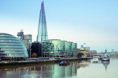 17/10/2017 London, UK, Panoramic view of London City busines buildnigs. Panoramic view of London City busines buildings from Tower Bridge stock photography