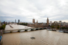 LONDON, UK. Panoramic view of London from London Eye Royalty Free Stock Image