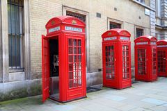 London UK. London phone boxes - red telephone kiosks in the UK Stock Images