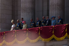 LONDON, UK - Queen Elisabeth II and the royal family on the balcony of Buckingham Palace on Britain's day Stock Photo
