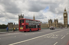 London, the UK. Red bus and Big Ben Stock Photo
