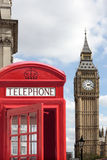 London, UK, red telephone box with Big Ben, Houses of Parliament, vertical Royalty Free Stock Image
