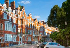London, UK. Residential aria of Kensington and Chelsea. Cadogan gate with row of periodic buildings. Luxury prop Stock Images