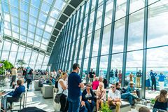 Free London, UK - SEP 1 2019: People Enjoying The Spectacular Sky Garden Situated On The Top Floor Of 20 Fenchurch Street Skyscraper, Stock Photography - 161323372