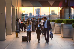 LONDON, UK - 7 SEPTEMBER, 2015: Canary Wharf business life. Business people going home after working day. Stock Photography