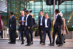 LONDON, UK - 7 SEPTEMBER, 2015: Canary Wharf business life. Business people going home after working day. Royalty Free Stock Photography