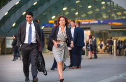 LONDON, UK - 7 SEPTEMBER, 2015: Canary Wharf business life. Business people going home after working day. Stock Images