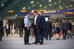 LONDON, UK - 7 SEPTEMBER, 2015: Canary Wharf business life. Business people going home after working day. Stock Image