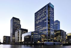 London Canary Wharf at dusk royalty free stock image