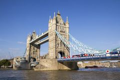 London cityscape across the River Thames with a view of Tower Bridge, London, England, UK,. LONDON, UK - SEPTEMBER 1, 2018. London cityscape across the River stock photos