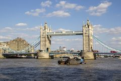 London cityscape across the River Thames with a view of Tower Bridge, London, England, UK,. LONDON, UK - SEPTEMBER 1, 2018. London cityscape across the River stock photography