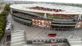 Flying by Aerial View Iconic Arsenal Emirates Stadium in London Stock Photos