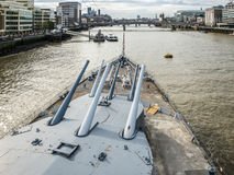 LONDON/UK - SEPTEMBER 12 : Gun Turret on HMS Belfast in London o Stock Photo