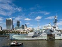 LONDON/UK - SEPTEMBER 12 : HMS Belfast Moored in the Pool of Lon Stock Image