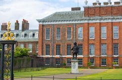 Kensington palace, in Hyde park view at sunny day with lots of people walking and resting in th, London UK. London, UK - September 8, 2016: Kensington palace, in stock images