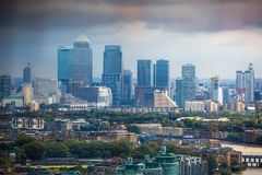 LONDON, UK - SEPTEMBER 17, 2015: London panorama with River Thames, bridges and Canary Wharf banking and business district Royalty Free Stock Photos