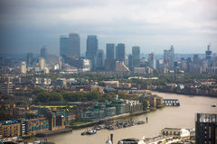 LONDON, UK - SEPTEMBER 17, 2015: London panorama with River Thames, bridges and Canary Wharf banking and business district Stock Image