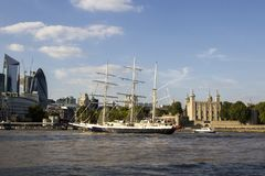 Lord Nelson sailing past the Tower of London on River Thames. London, England, UK, September 1,. LONDON, UK - SEPTEMBER 1, 2018. Lord Nelson sailing past the stock photo