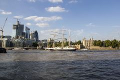 Lord Nelson sailing past the Tower of London on River Thames. London, England, UK, September 1,. LONDON, UK - SEPTEMBER 1, 2018. Lord Nelson sailing past the stock photos
