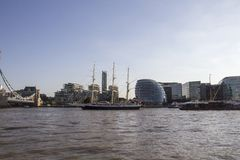 The Lord Nelson tall ship heading for Tower Bridge on the River Thames. London, England, UK,. LONDON, UK - SEPTEMBER 1, 2018. The Lord Nelson tall ship heading stock photos