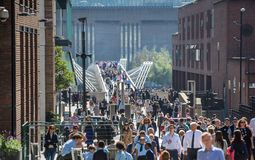 Millennium bridge with lots of walking people . London, UK Royalty Free Stock Image
