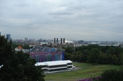 London, UK - September 04, 2012: Panoramic view of the Greenwich Peninsula in south-east London royalty free stock photos