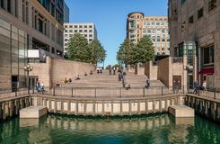 The steps that lead to Cabot Square in Canary Wharf royalty free stock photo