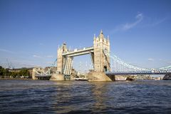 View of Tower Bridge on the River Thames opening for the Lord Nelson. London, England, UK,. LONDON, UK - SEPTEMBER 1, 2018. View of Tower Bridge on the River royalty free stock photo