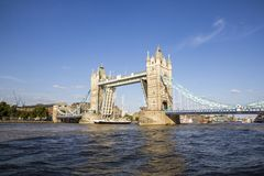 View of Tower Bridge on the River Thames opening for the Lord Nelson. London, England, UK,. LONDON, UK - SEPTEMBER 1, 2018. View of Tower Bridge on the River royalty free stock images