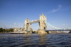 View of Tower Bridge on the River Thames opening for the Lord Nelson. London, England, UK,. LONDON, UK - SEPTEMBER 1, 2018. View of Tower Bridge on the River stock photos